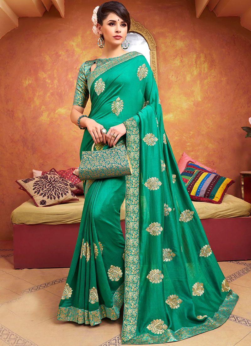 Traditional Saree Zari Silk in Green