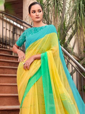 Turquoise and Yellow Georgette Casual Saree
