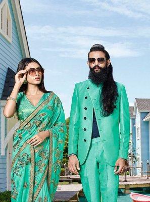 Turquoise Art Silk Silk Saree