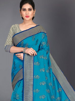 Turquoise Art Silk Woven Designer Traditional Saree
