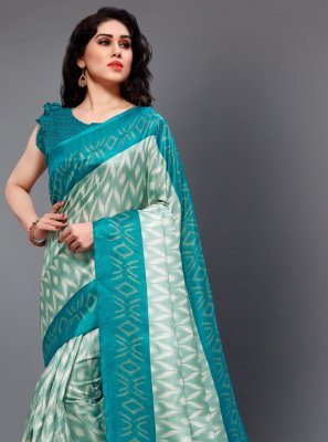 Turquoise Casual Casual Saree