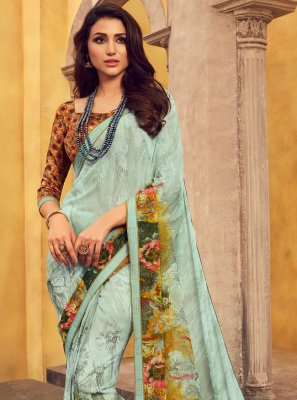 Turquoise Casual Georgette Casual Saree