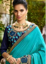 Turquoise Chanderi Reception Designer Saree