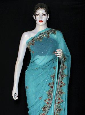 Turquoise Chiffon Satin Designer Saree