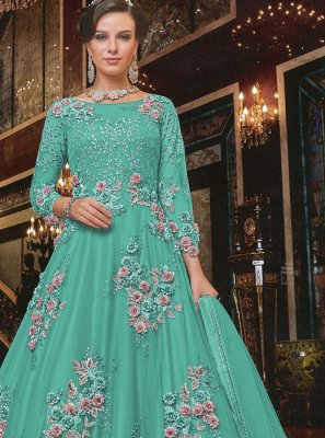 Turquoise Color Floor Length Anarkali Salwar Suit