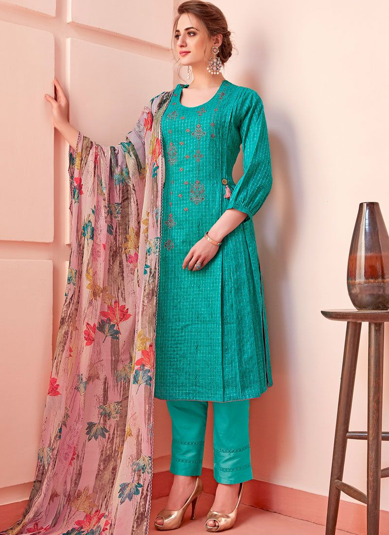 Turquoise Cotton Casual Pant Style Suit