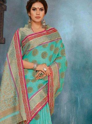 Turquoise Cotton Casual Saree