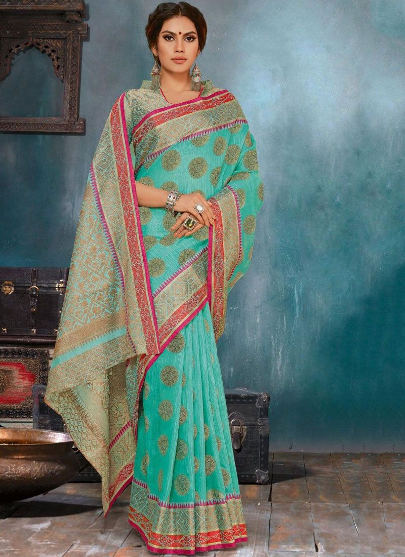 Turquoise Cotton Casual Saree