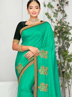 Turquoise Embroidered Classic Saree