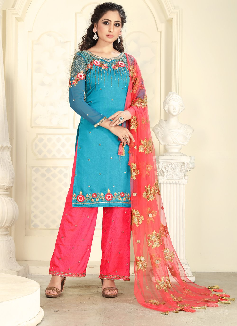 Turquoise Embroidered Designer Pakistani Suit