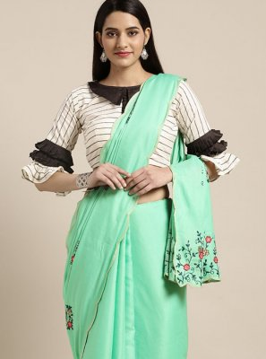 Turquoise Embroidered Festival Casual Saree