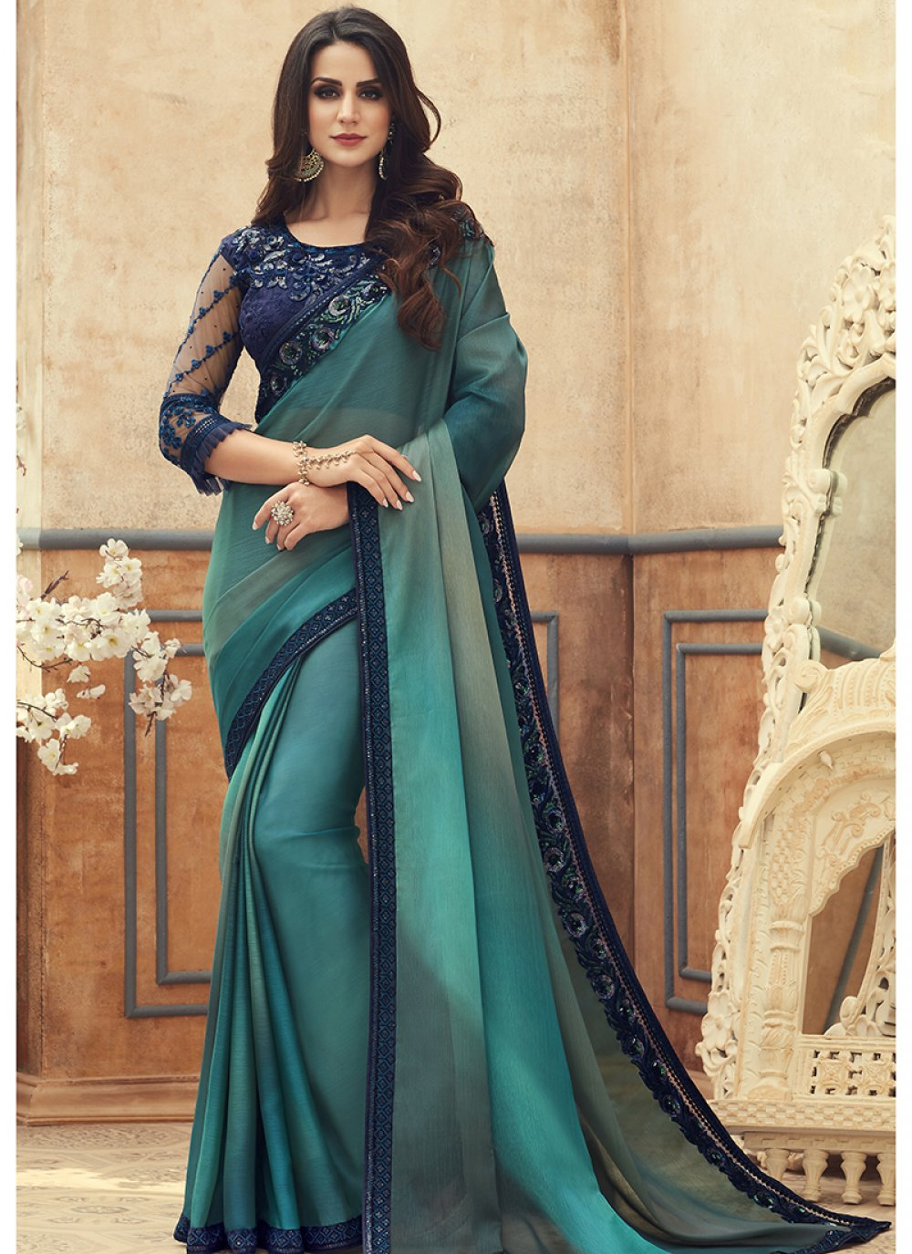 Turquoise Embroidered Sangeet Saree