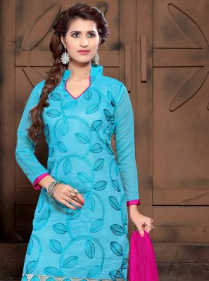 Turquoise Embroidered Silk Churidar Salwar Kameez