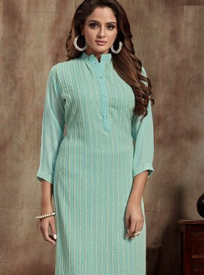 Turquoise Faux Georgette Casual Casual Kurti