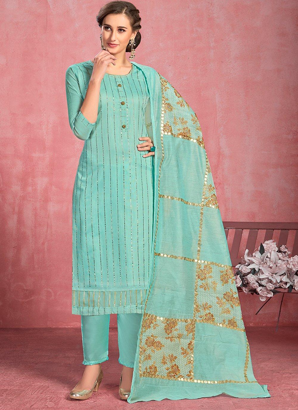 Turquoise Festival Cotton Salwar Kameez