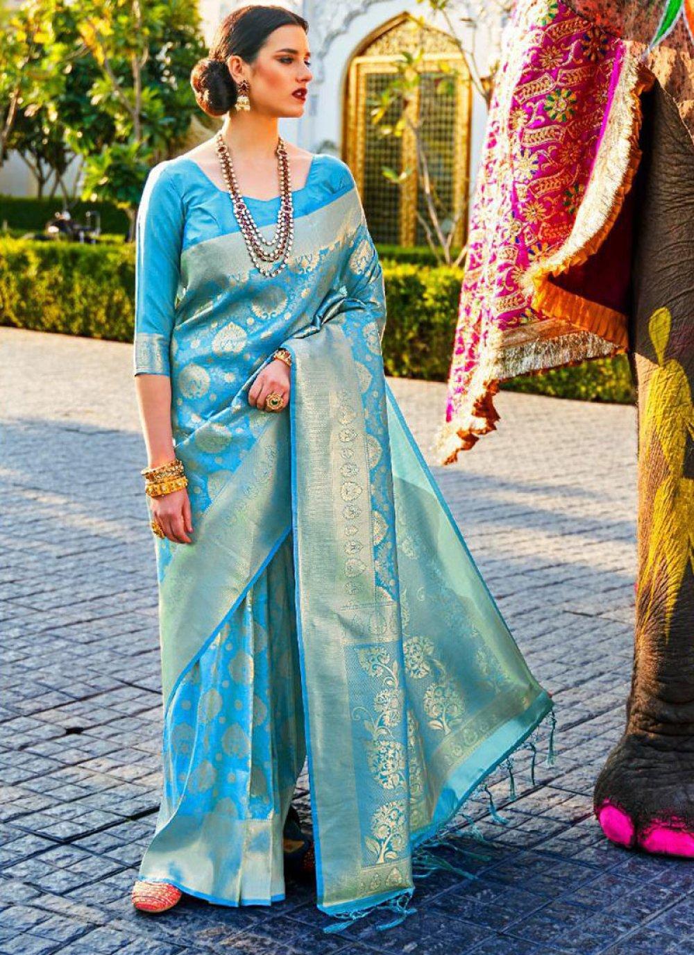 Turquoise Festival Silk Designer Saree