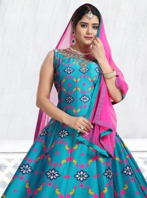 Turquoise Handwork Anarkali Suit