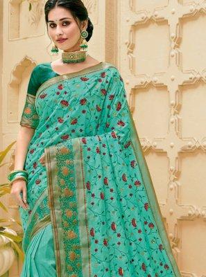 Turquoise Jute Silk Trendy Saree