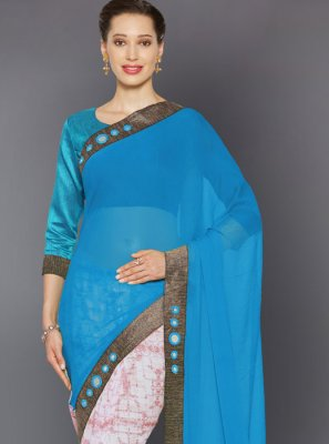Turquoise Lace Trendy Saree