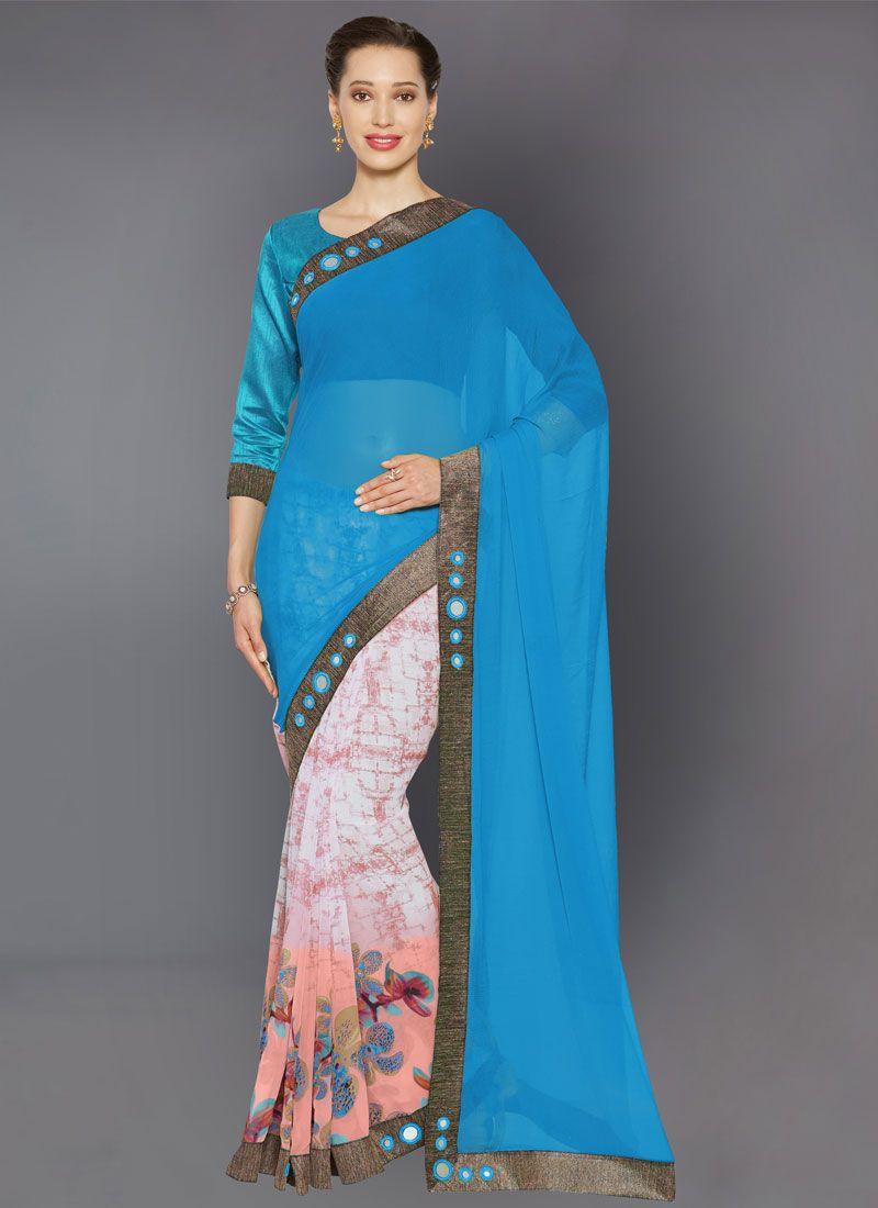 Turquoise Lace Trendy Saree