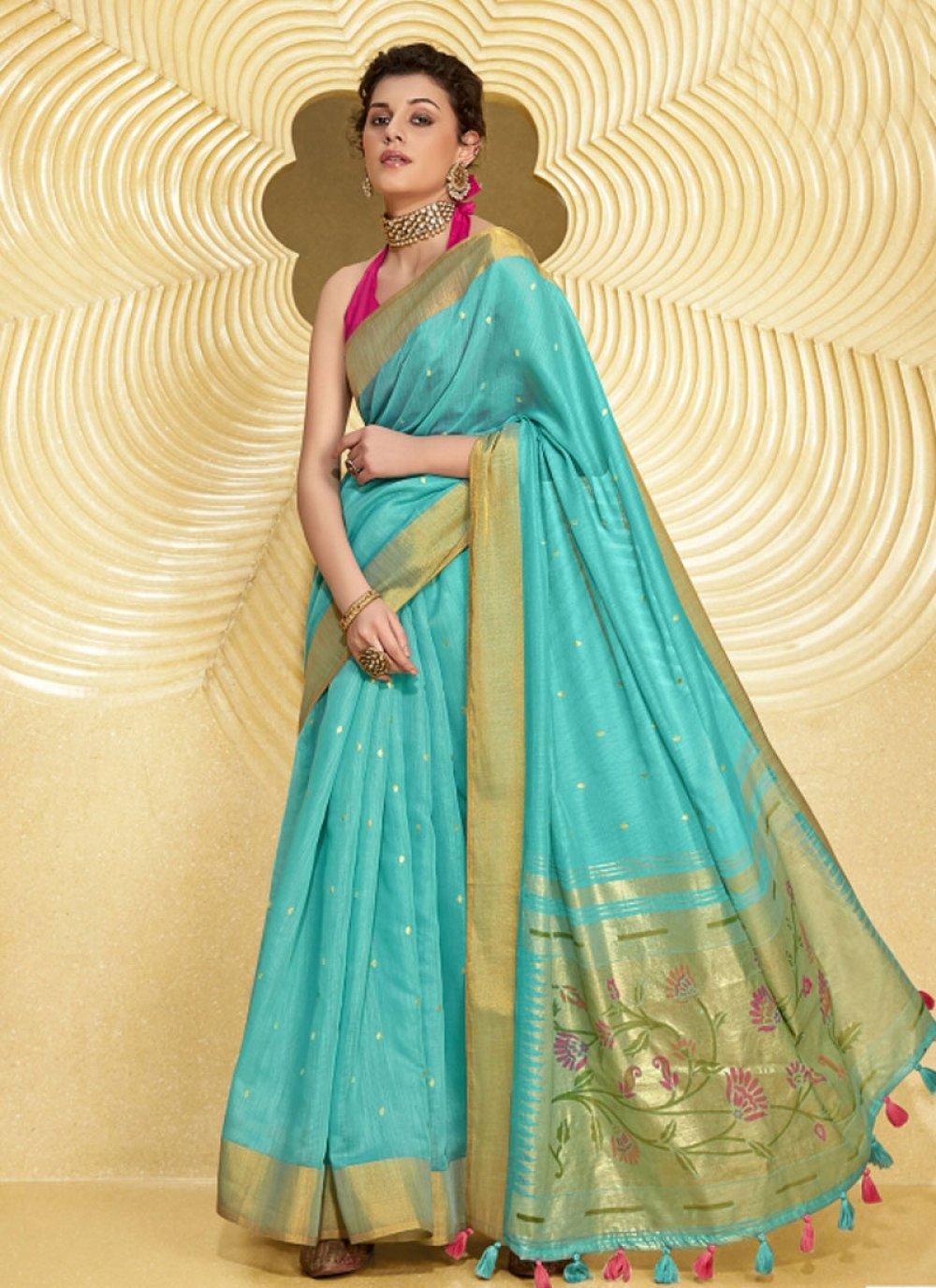Turquoise Linen Saree