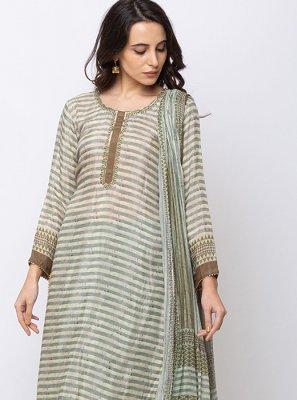 Turquoise Muslin Embroidered Salwar Kameez
