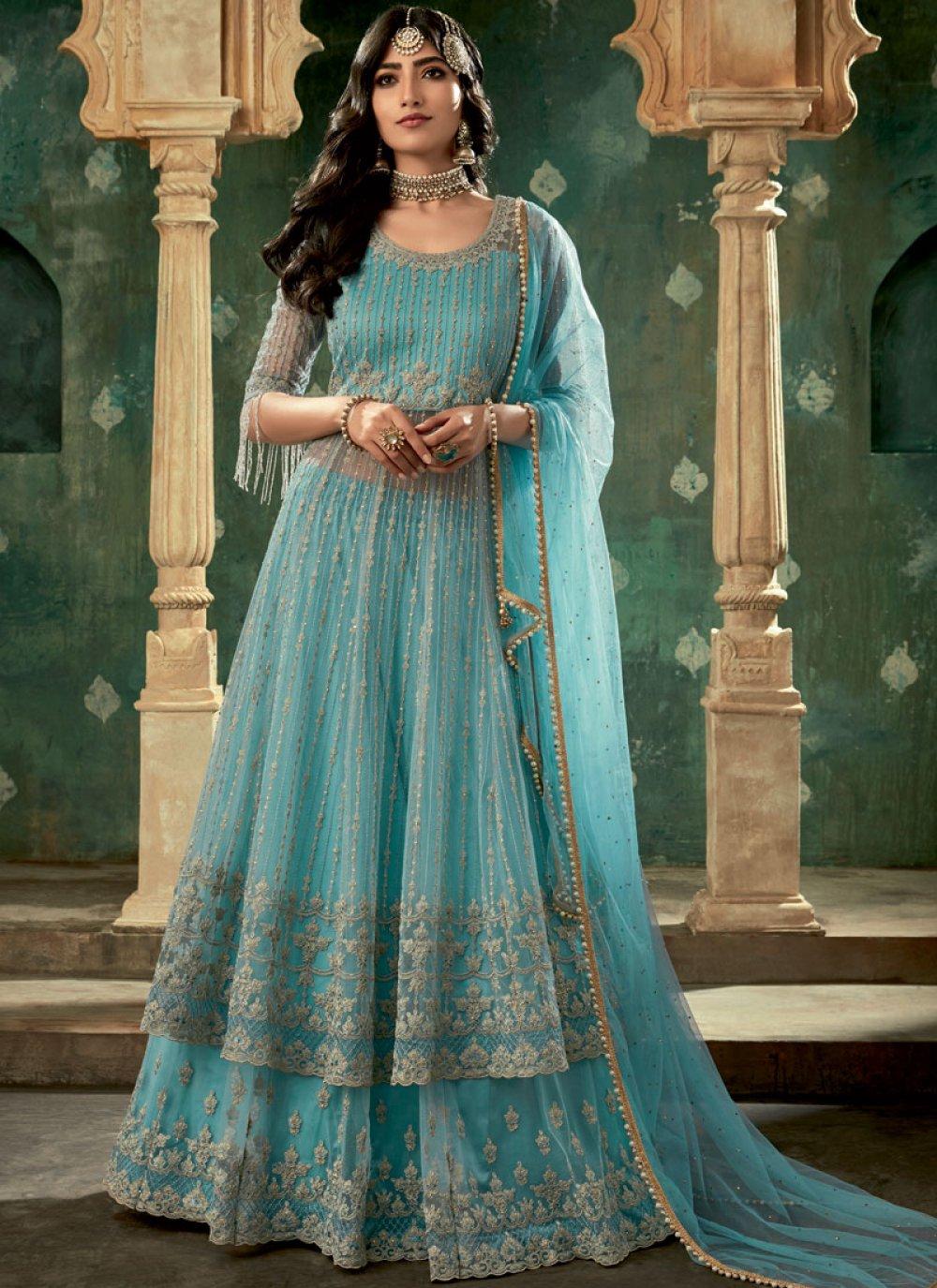 Turquoise Net Reception Lehenga Choli