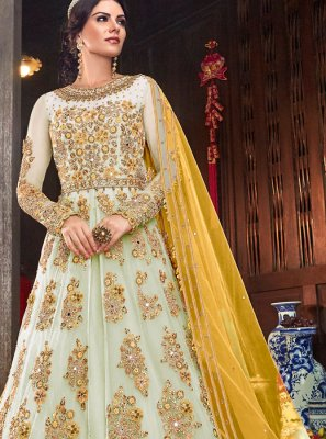 Turquoise Party Net Desinger Anarkali Salwar Suit