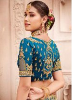 Turquoise Party Silk Lehenga Choli