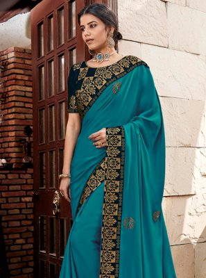 Turquoise Patch Border Ceremonial Trendy Saree
