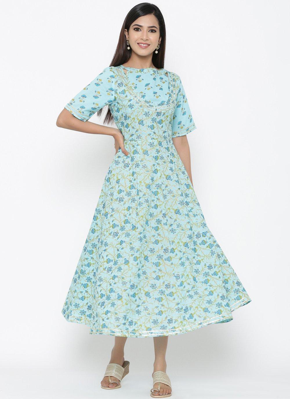 Turquoise Print Cotton Casual Kurti