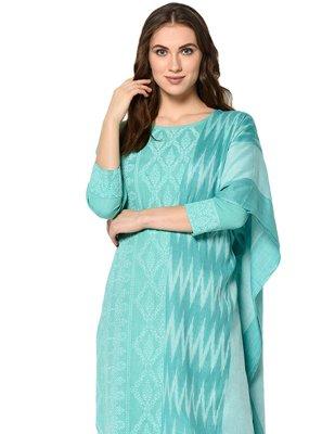 Turquoise Print Salwar Suit