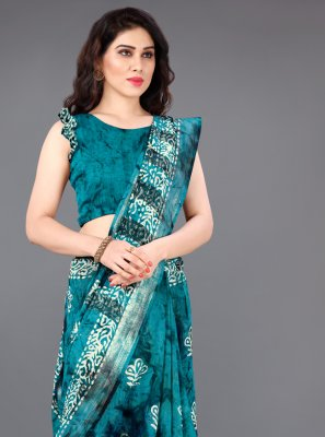 Turquoise Printed Casual Saree
