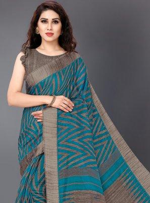 Turquoise Printed Designer Saree