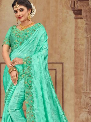 Turquoise Reception Traditional Saree