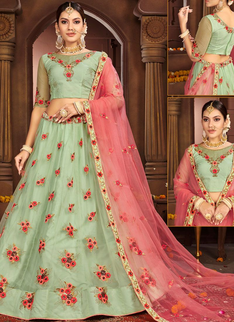 Turquoise Reception Trendy A Line Lehenga Choli
