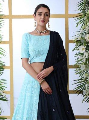 Turquoise Resham Georgette Designer Lehenga Choli