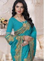 Turquoise Resham Reception Contemporary Style Saree