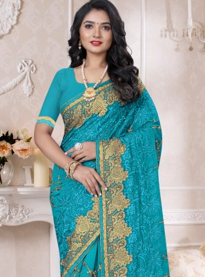 Turquoise Resham Reception Contemporary Style Saree