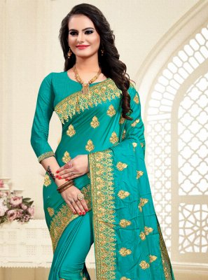 Turquoise Resham Satin Silk Traditional Saree