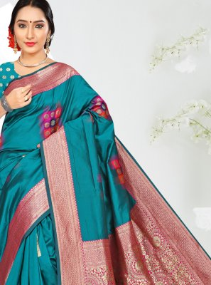 Turquoise Silk Casual Saree