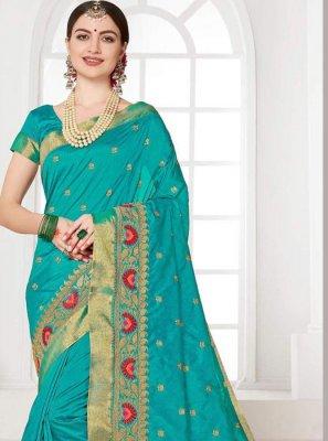 Turquoise Silk Classic Saree