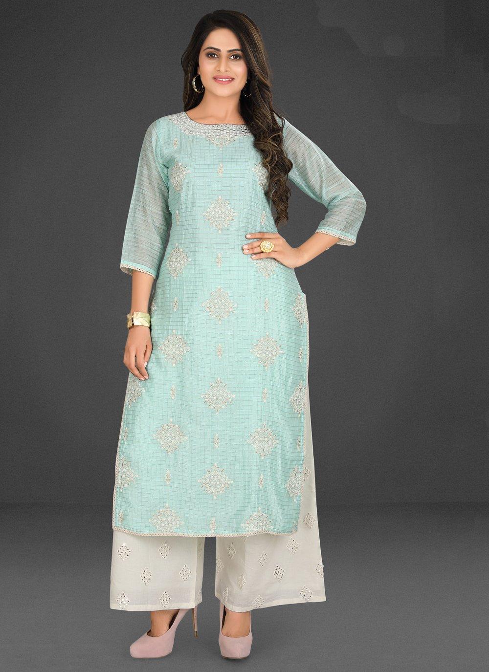 Turquoise Silk Embroidered Designer Palazzo Salwar Kameez