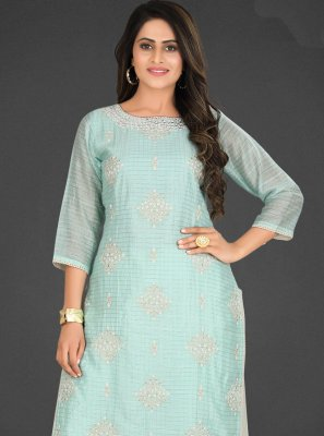 Turquoise Silk Embroidered Designer Palazzo Salwar Kameez