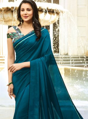 Turquoise Silk Party Traditional Saree