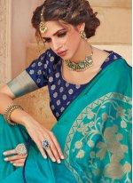 Turquoise Weaving Classic Designer Saree