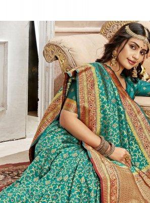 Turquoise Weaving Saree