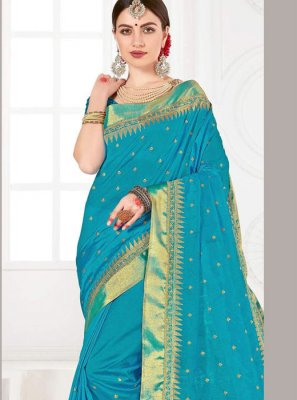 Turquoise Weaving Silk Trendy Saree