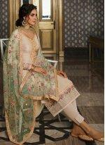 Tussar Silk Cream Salwar Kameez