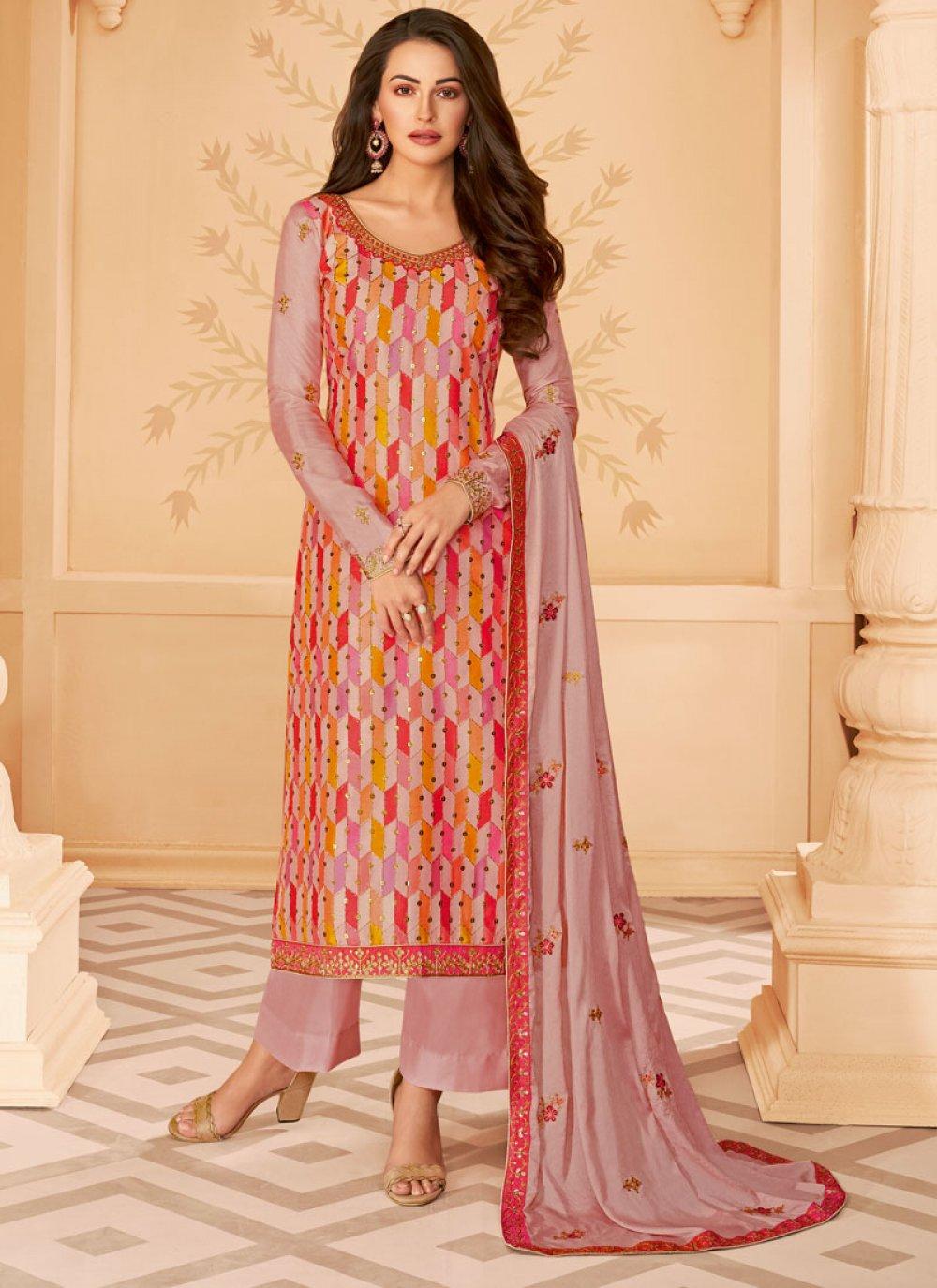 Tussar Silk Designer Salwar Suit in Multi Colour
